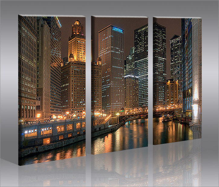 chicago 3 bilder bild skyline usa auf leinwand wandbild poster ebay. Black Bedroom Furniture Sets. Home Design Ideas
