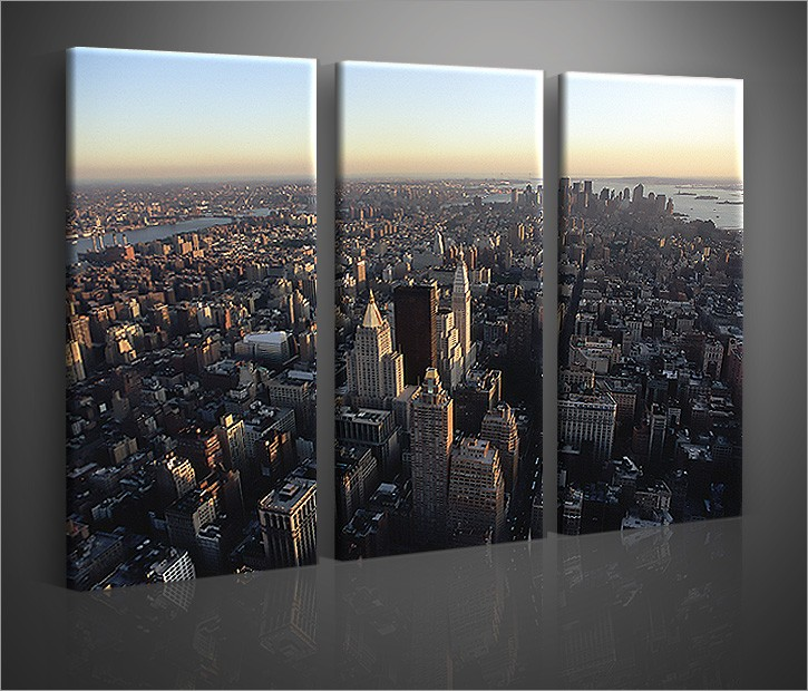 nyc 3 bilder bild new york city skyline auf leinwand wandbild poster ebay. Black Bedroom Furniture Sets. Home Design Ideas