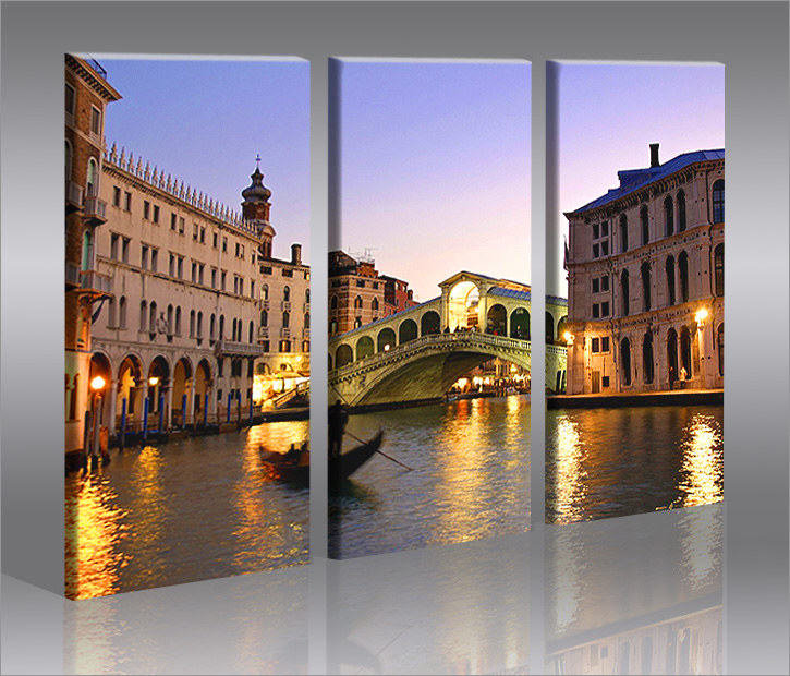 venice venedig italien romantisches bild 3 bilder auf leinwand wandbild poster ebay. Black Bedroom Furniture Sets. Home Design Ideas