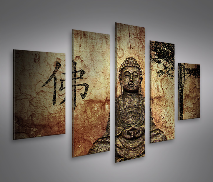 buddha v10 mf 5 bilder auf leinwand bild wandbild poster kunstdruck ebay. Black Bedroom Furniture Sets. Home Design Ideas