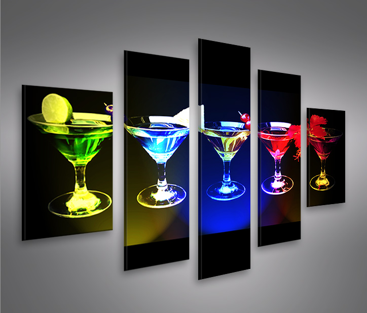 funky cocktails mf 5 bilder auf leinwand bild wandbild poster kunstdruck ebay. Black Bedroom Furniture Sets. Home Design Ideas