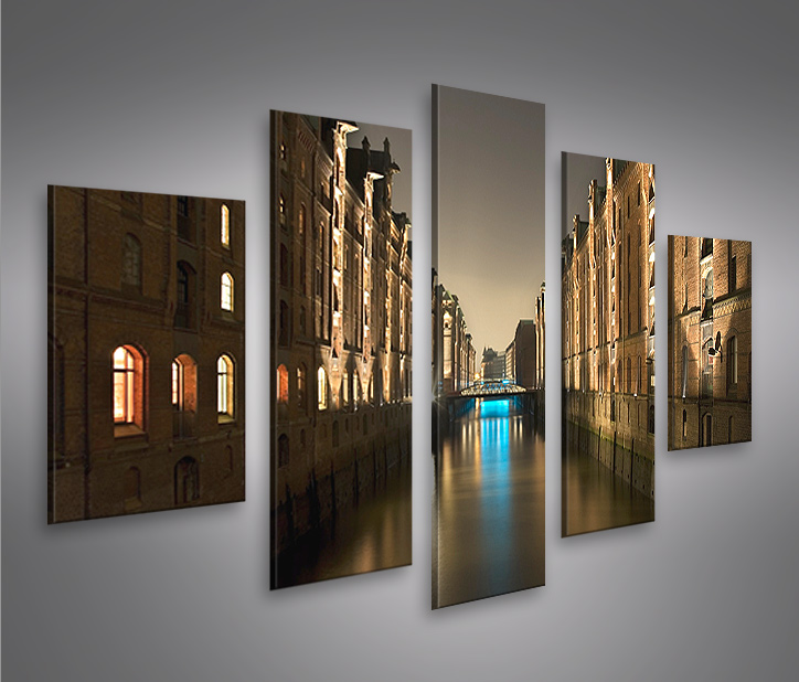 hamburg mf 5 bilder speicherstadt auf leinwand wandbild. Black Bedroom Furniture Sets. Home Design Ideas