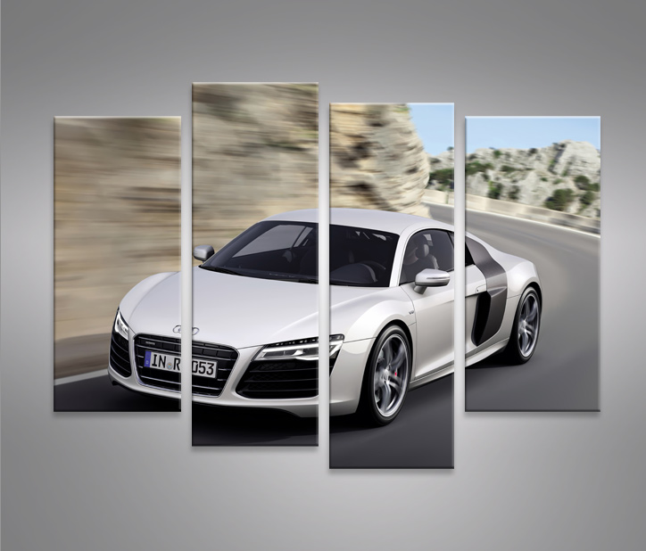 audi r8 v5 4 bilder modernes bild sportwagen xxl auf leinwand wandbild poster ebay. Black Bedroom Furniture Sets. Home Design Ideas