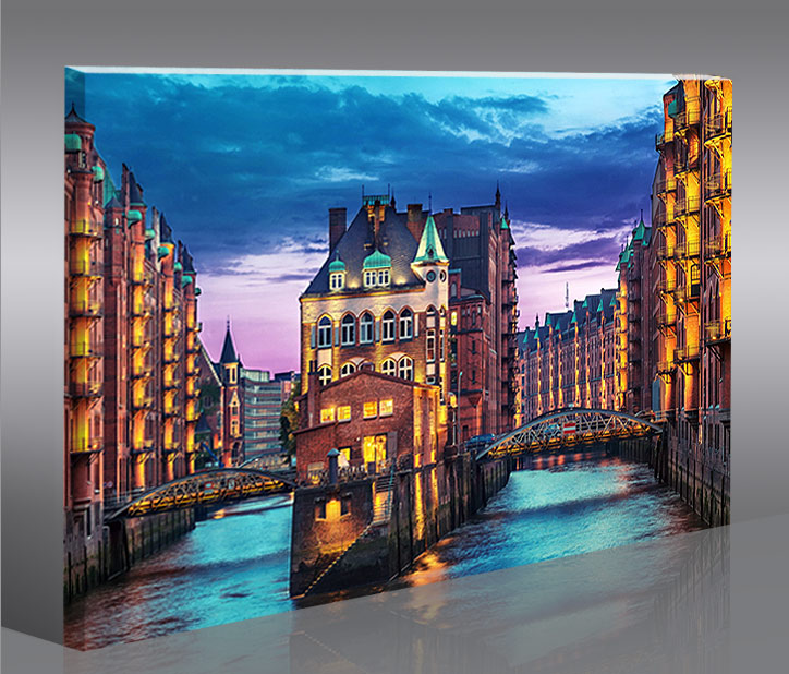 speicherstadt hamburg 1p bild auf leinwand bilder kunstdruck wandbild poster ebay. Black Bedroom Furniture Sets. Home Design Ideas