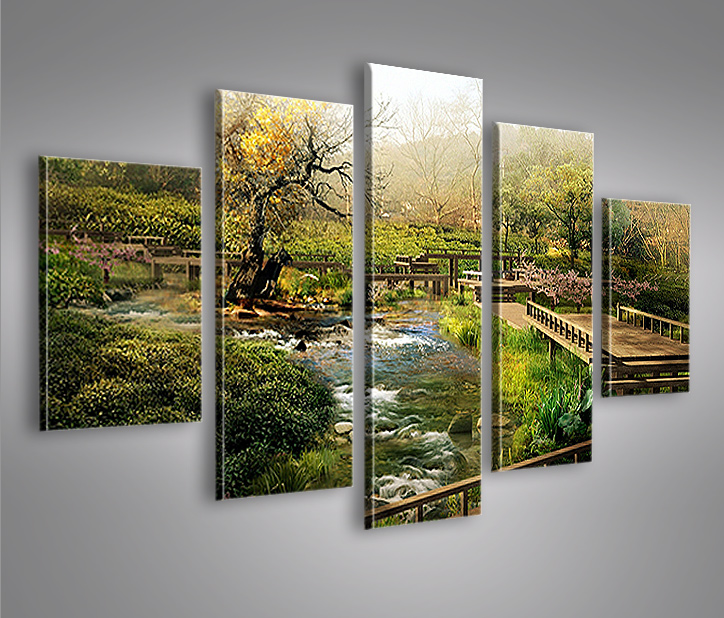 china landschaft mf 5 bilder 160x80 bild auf leinwand wandbild poster ebay. Black Bedroom Furniture Sets. Home Design Ideas