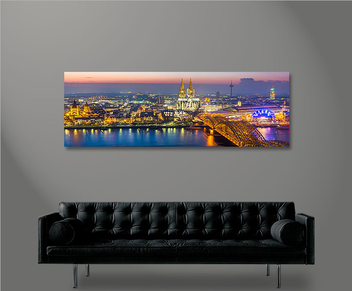 cologne k ln panorama format bild auf leinwand wandbild edel poster ebay. Black Bedroom Furniture Sets. Home Design Ideas