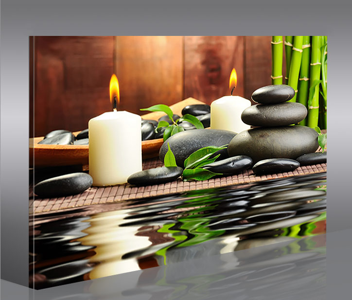 zen stones feng shui 1 bild auf leinwand bilder wandbild poster kunstdruck. Black Bedroom Furniture Sets. Home Design Ideas
