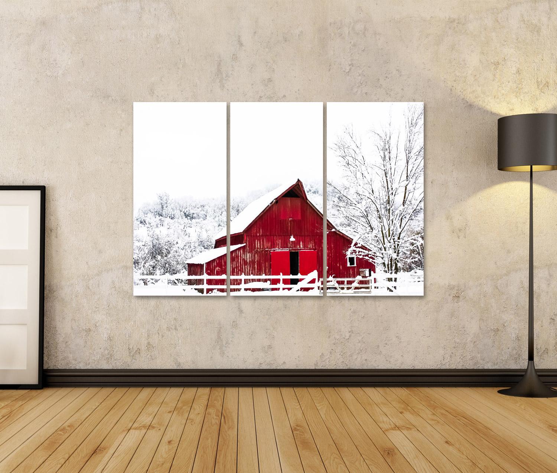 Bild Bilder auf Leinwand Große rote Scheune im Winter-Schnee Wandbild UOL