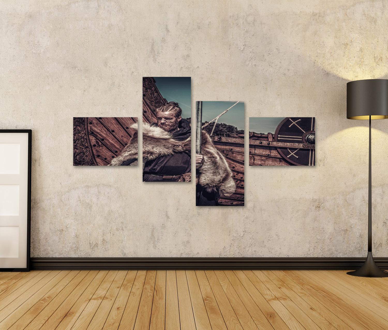 Bild Bilder auf Leinwand Wikinger Krieger mit Schwert stehend in der N PHZ