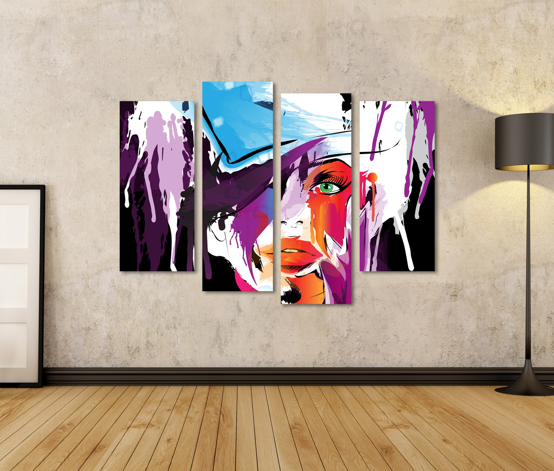 Bild auf Leinwand abstraktes Frauengesicht NBI