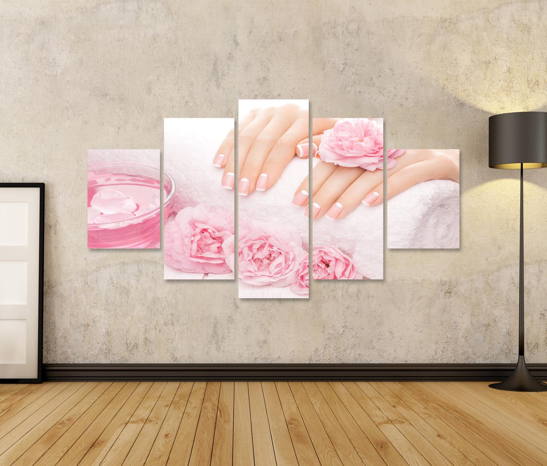 Bild Bilder auf Leinwand Französisch Maniküre mit Rosenblüten Spa PAF