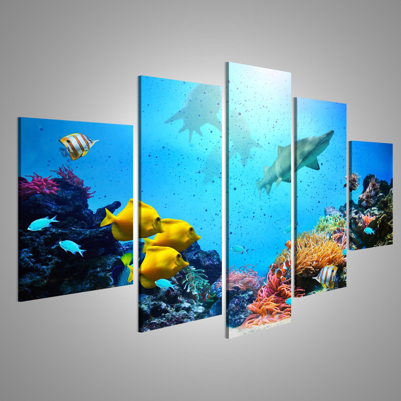 Bild auf Leinwand Unterwasser-Szene. Korallenriff, bunte Fischgruppen, LHX-MFP